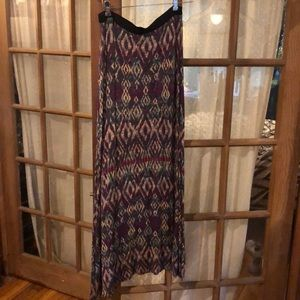 Free people patterned long skirt with slit